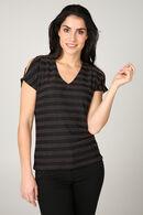 T-shirt met korte mouwen en streepjes, Brons