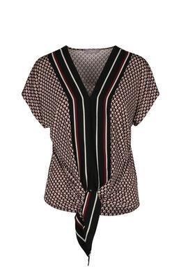 T-shirt geometrische print en linten, Framboos