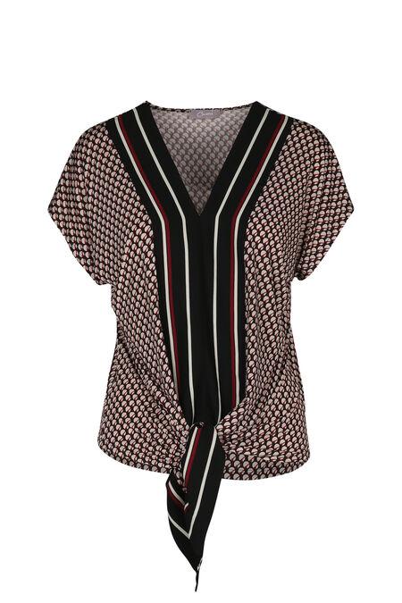 T-shirt imprimé géométrique liens à nouer - Framboise