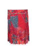 Rok in voile met patchprint, Rood