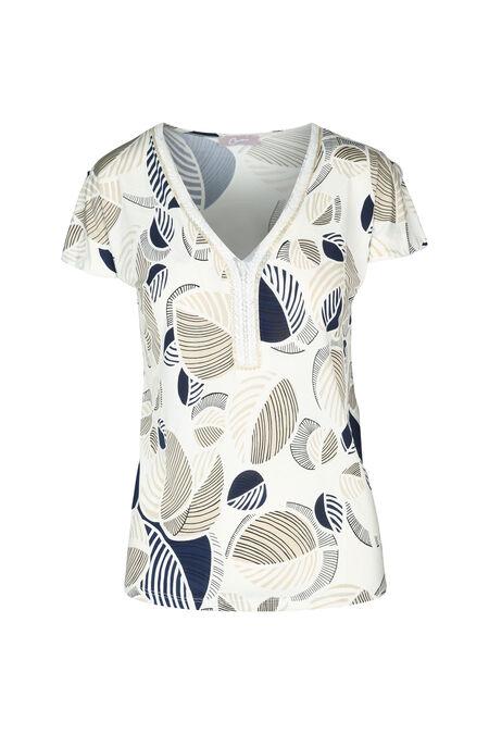 T-shirt col avec perles - Ecru