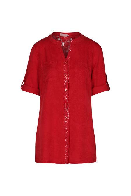 Tunique chemisier lyocel imprimé mandalas - Rouge