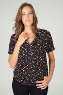 T-shirt met stippen en ritshals, Marineblauw