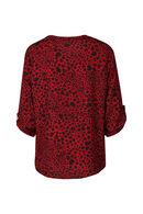 Blouse imprimé léopard col bijoux, Rouge