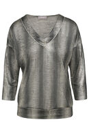 T-shirt met grafische, zilverkleurige print, Goud