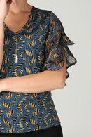 T-shirt bi-matière imprimé feuilles, Bleu