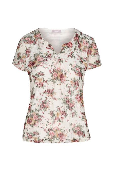 T-shirt in kant met bloemenprint - Pruim