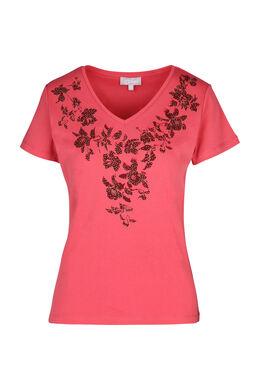 T-shirt met zeefdruk van bloemen, Framboos
