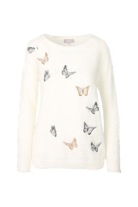 Trui met vlinders - Ecru