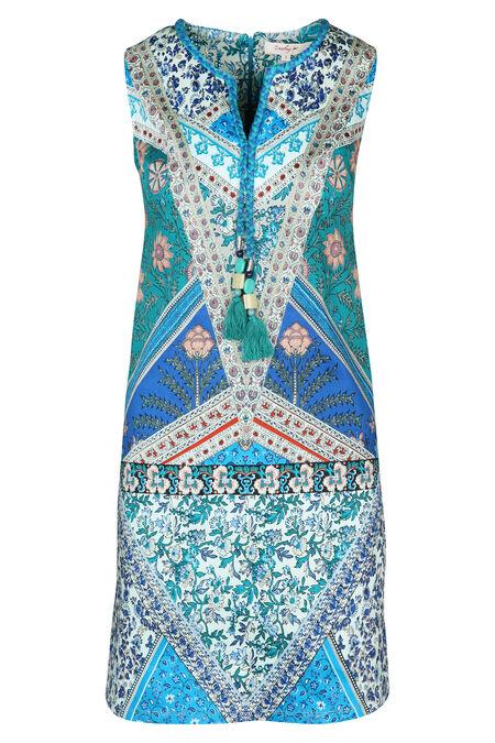 Robe imprimé fleuri avec pompons et perles By Derhy - Turquoise