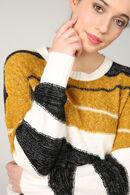 Gestreepte trui in color block stijl, Oker