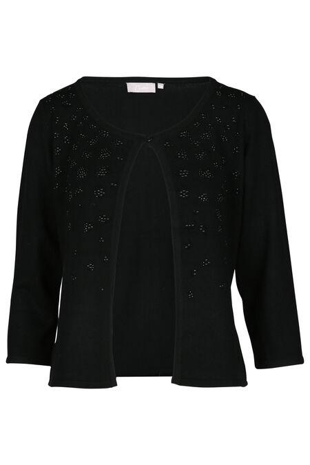 Open cardigan met strasbloemen - Zwart