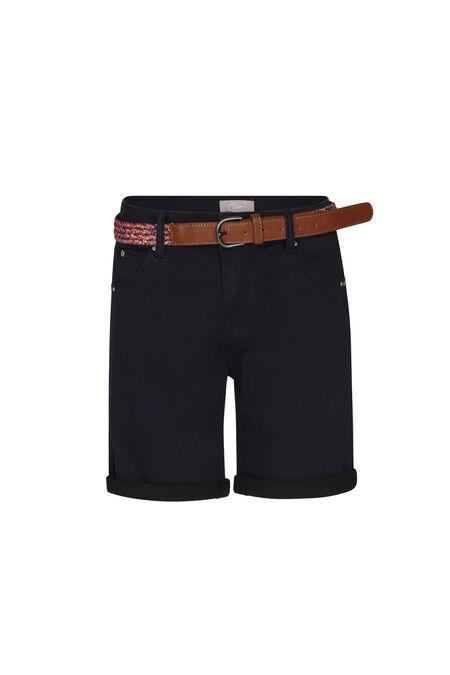 Katoenen short met riem - Marineblauw