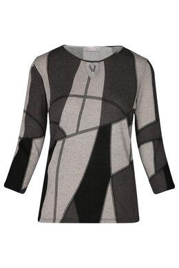 T-shirt in warm tricot met geometrische print, Grijs