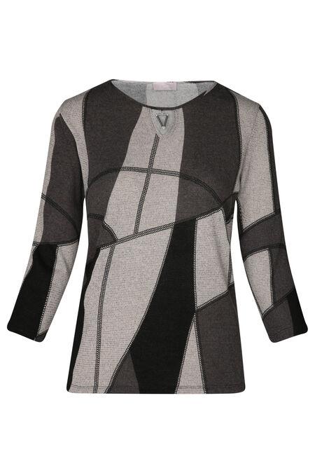 T-shirt maille chaude imprimé géométrique - Gris