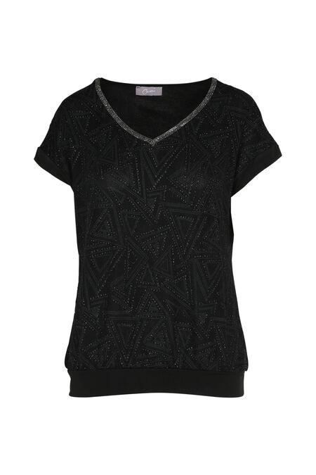T-shirt in tricot met lovertjes - Zwart