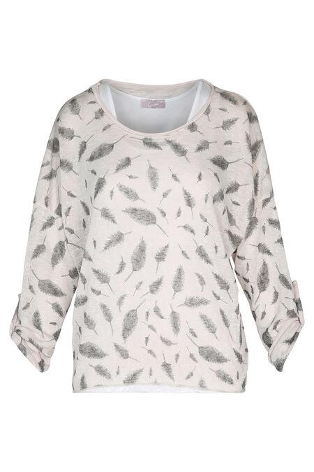 Sweater met pluimenprint - huidskleur