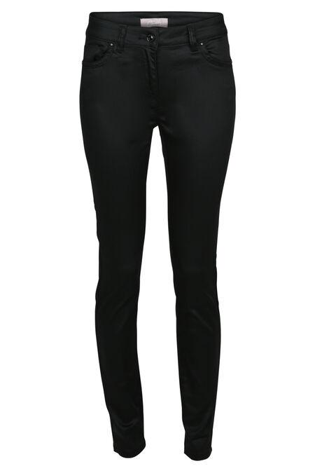 Gecoate slim broek - Zwart