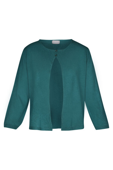 Cardigan met opengewerkt hart op de rug - Emerald groen