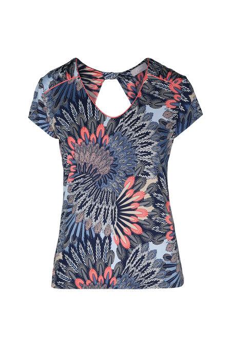 T-shirt maille froide imprimé plumes - Abricot