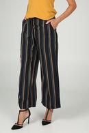 Pantalon large imprimé rayures, Marine