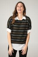 Trui-blouse 2-in-1 met strepen, Kaki