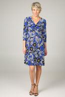 Robe maille froide imprimé feuilles et fleurs, Bleu royal