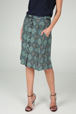 Jupe boutonnée devant imprimé ethnique, Turquoise