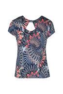 T-shirt maille froide imprimé plumes, Abricot
