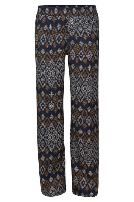 Soepel vallende broek met etnische print - Marineblauw