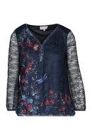 T-shirt met print en strassteentjes, Marineblauw