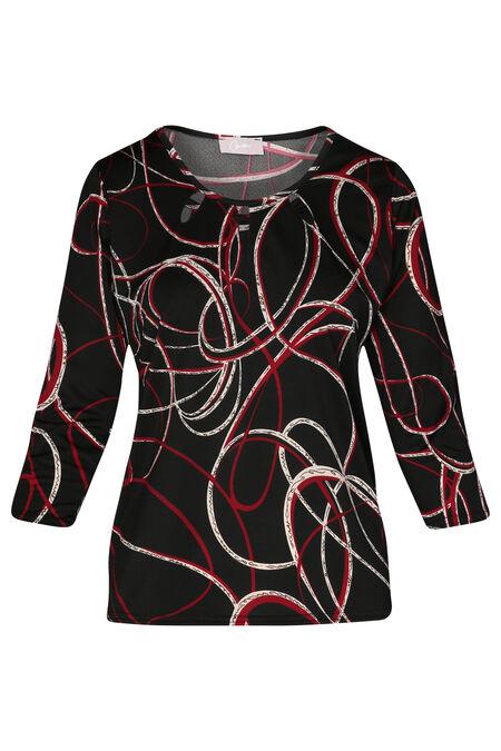 T-shirt met geometrische print en druppels aan de hals - Rood