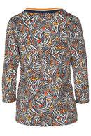 T-shirt met bladprint en sportswearstroken, Oker