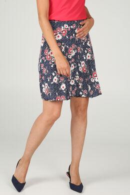 Rok in tricot met bloemen en stippen, Marineblauw