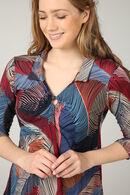 Shirt in koel tricot met pluimenprint, Oranje