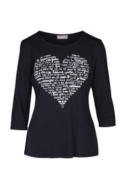 T-shirt met een hart op, Marineblauw