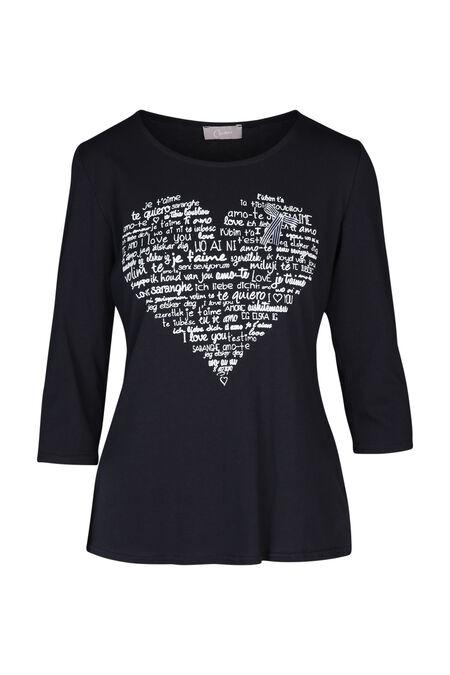 T-shirt imprimé cœur - Marine