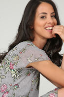 Jurk in soepel tricot met een bloemenprint, Lichtgrijs