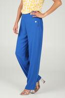 Brede broek met knoopdetails, Koningsblauw