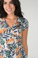 Wikkeljurk in tricot met bloemenprint, Marineblauw