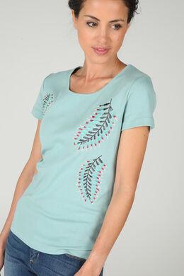 Katoenen T-shirt met geborduurde bladeren, Appelblauwzeegroen