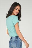 Katoenen T-shirt met borduurwerk, Appelblauwzeegroen