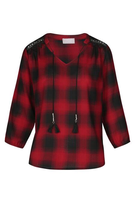 Geruite blouse met juweelhals - Rood