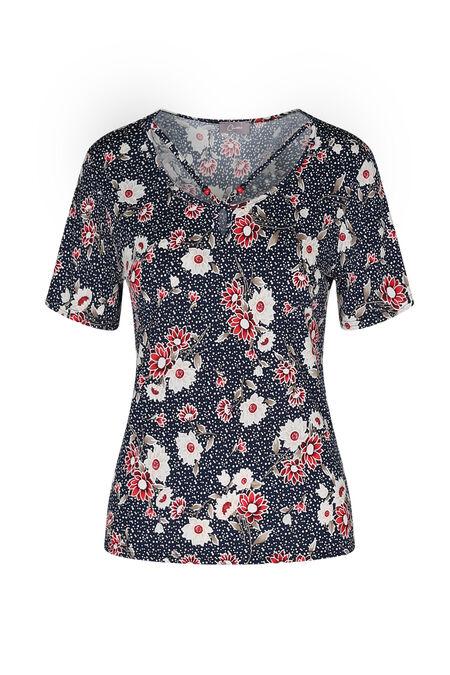 T-shirt imprimé fleuri décolleté croisé - Rouge