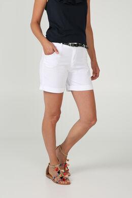 Katoenen short met riem, Wit