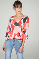 T-shirt met lurex en geometrische print, Koraal