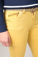 Pantalon slim ceinture tressée, Ocre