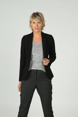 Veste blazer avec biais en cuir, Noir