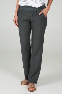 Pantalon en lin, Gris-moyen