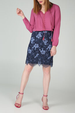 Knielange rok in kant, Marineblauw